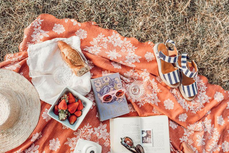 summer-picnic-items-on-orange-blanket